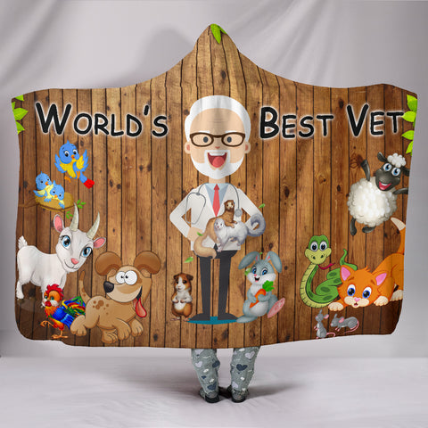 Best Veterinarian Hooded Blanket - World's Best Vet Hoodie Blanket - Fun Veterinarian Apparel - Cute Vet Stuff
