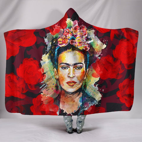 Frida Kahlo Hooded Blanket - Red Roses