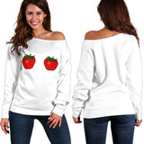 Women's Off Shoulder Sweater - Large Strawberries
