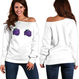 Women's Off Shoulder Sweater - Grapes