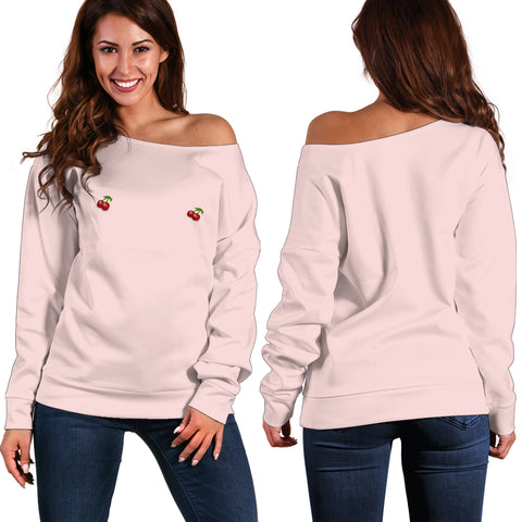 Women's Off Shoulder Sweater - Small Cherries