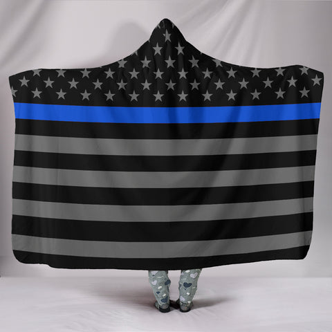Thin Blue Line Hooded Blanket - Blue Live Matters Hoodie Blanket - Blue America