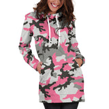 Pink Camo Women's Hoodie Dress | Cute Fun Pink Camouflage Hooded Shirt Dress