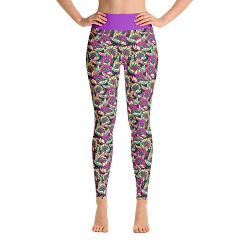 Women's Vintage Magenta Floral Yoga Leggings