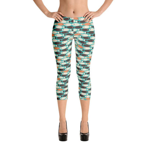Retro Fish Capri Leggings