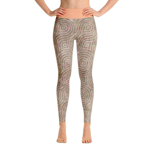 Women's Khaki Retro Print Yoga Leggings