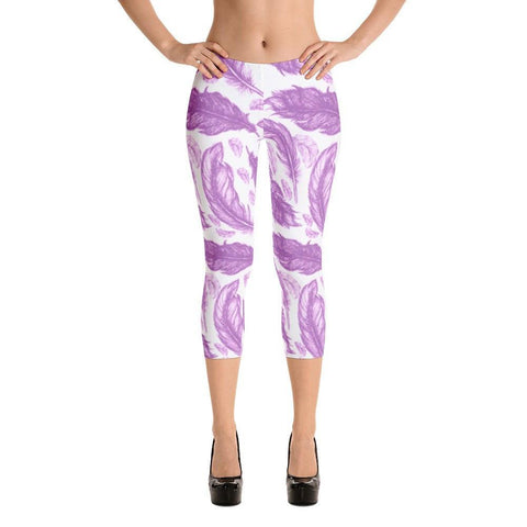 Purple Feathers Capri Leggings