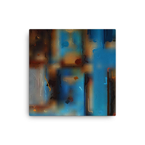 Abstract Blue Oil Paint Canvas