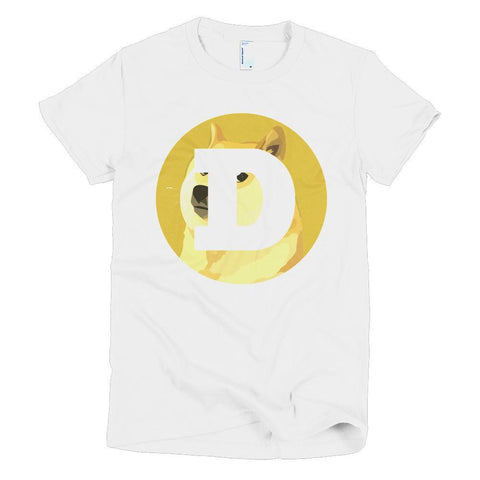 Cryptocurrency Women's Short Sleeve Dogecoin T-Shirt | HODL On For Dear Life