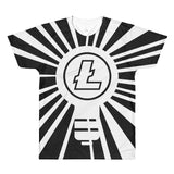 Cryptocurrency All Over Short-Sleeve Litecoin T-Shirt | Lightbulb | HODL On For Dear Life