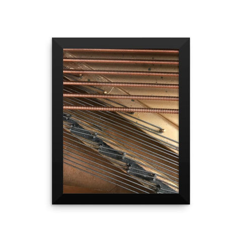 Framed Antique Piano Strings Photo Paper Poster
