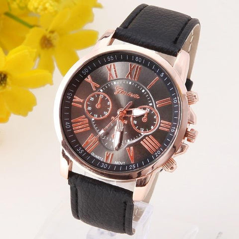 NEW Best Quality Geneva Platinum Watch Women PU Leather Wristwatch