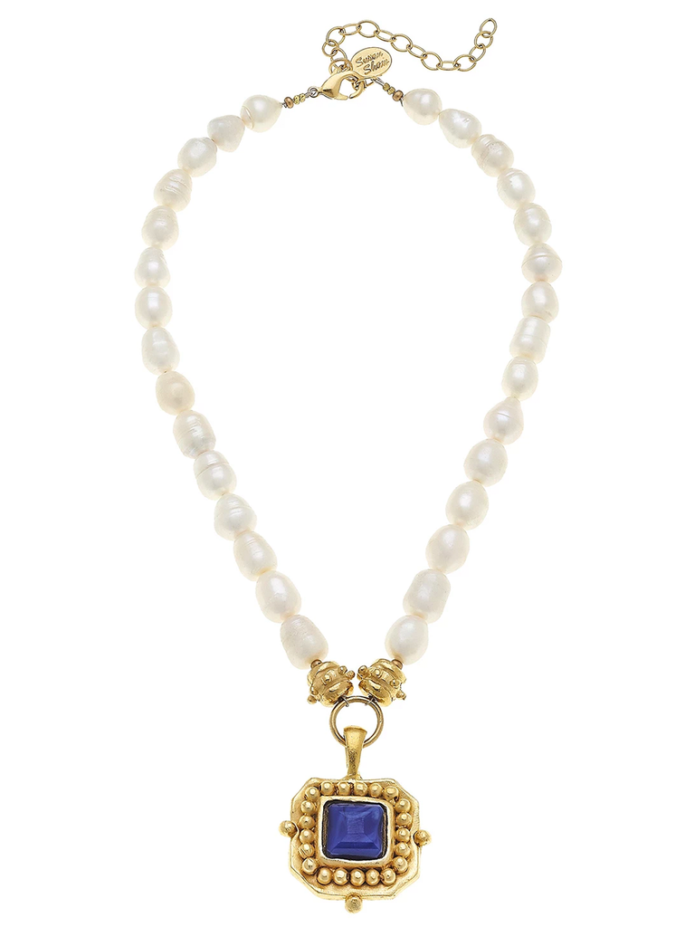 Susan Shaw Pearl Necklace with Cobalt Pendant
