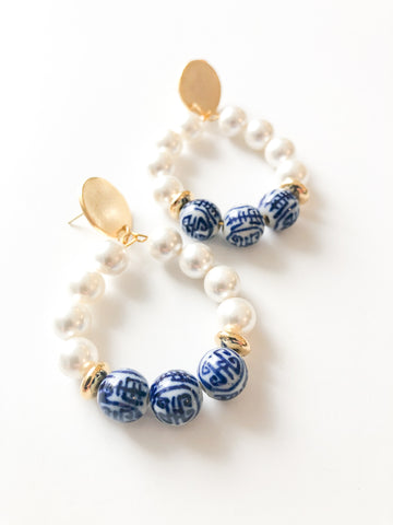 Blue and White Pearl Loop Earring