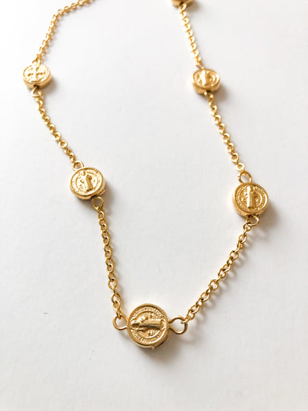 Dainty St. Benedict's Coin Necklace