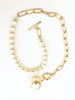 Chain and Pearl Collar Necklace