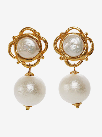 Susan Shaw Gold and Cotton Pearl Drop Earrings