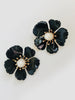 Floral Stud with Cultured Pearl