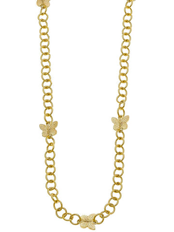 Susan Shaw Gold Butterflies Linked Necklace