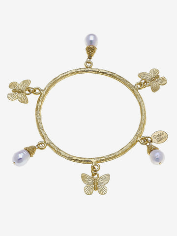 Butterfly + Pearl Bangle