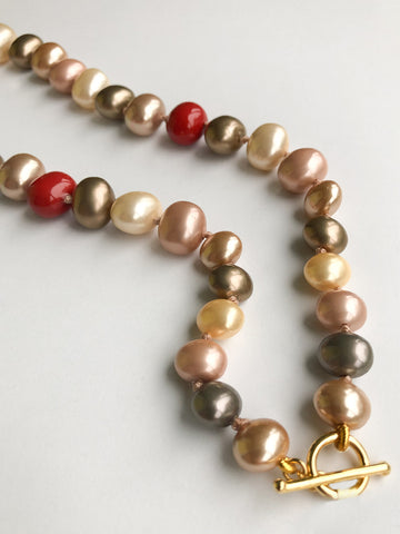 Catherine Canino Multi-Colored Pebble Pearl Necklace