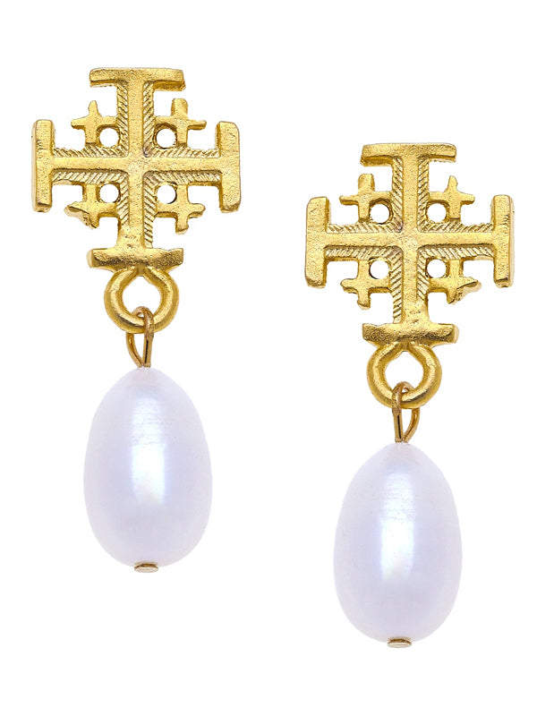 Susan Shaw Delicate Cross and Pearl Earrings