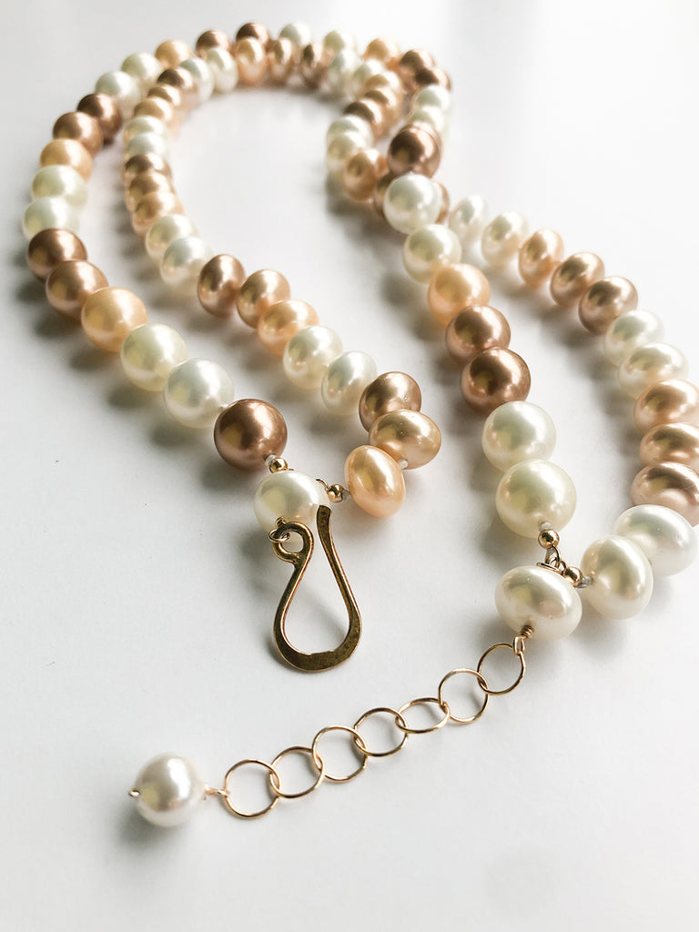 Champagne Multi-Colored Pearl Necklace