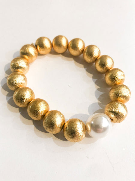 Gold & Pearl Stretch Bracelet