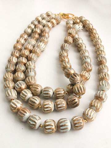 3 Row Neutral Bead Necklace