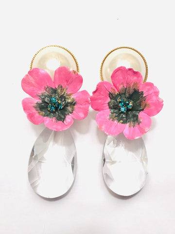 Floral and Pearl Crystal Drop Earring