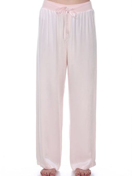 Satin Pant with Rib Waistband