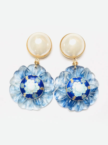 Imperial Japanese Painted Opal Floral Earring