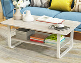 Elegance Wood & Steel Coffee Table with Shelf (White Oak)