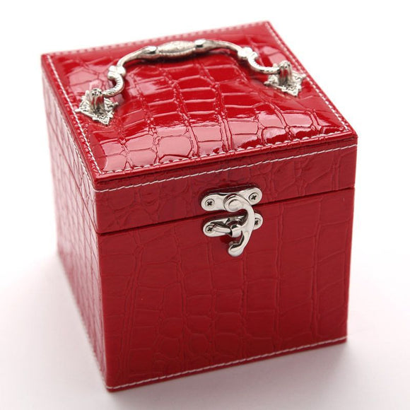 Deluxe PU Leather Jewellery Box Storage Case Organiser Gift (Red)
