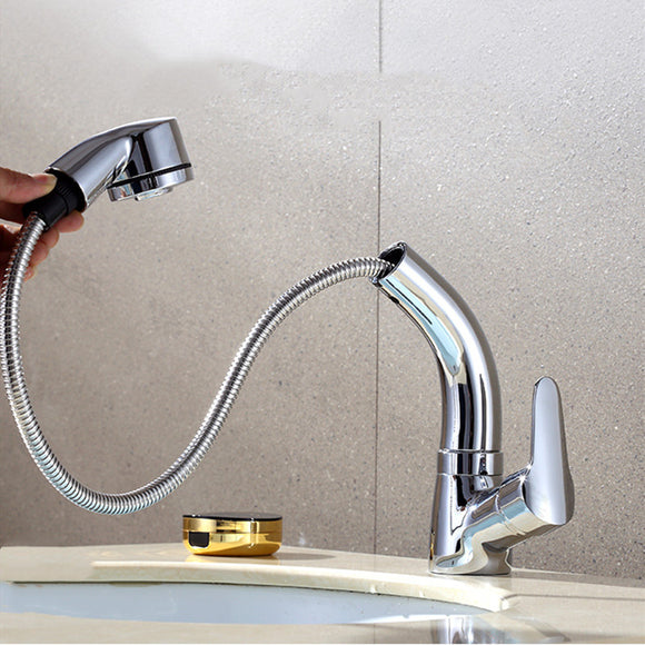 PULL OUT BATHROOM FAUCET BASIN SINK MIXER FAUCET HOT AND COLD 360 DEGREE ROTATING RETRACTABLE WATER MIXER TAP DECK MOUNT
