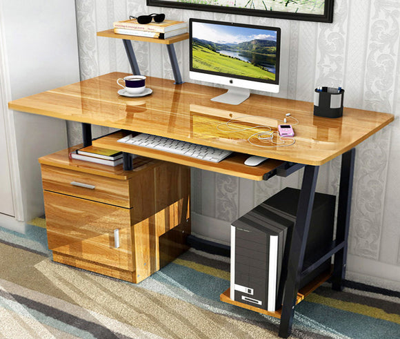 Large Malibu High Gloss Deluxe Computer Desk with Drawers and Shelves (Oak)