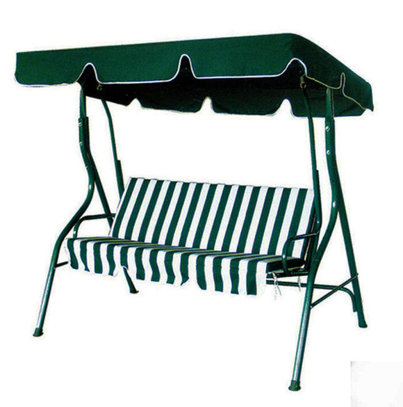 3-Person Outdoor Swing Chair with Padded Cushion (Green) Fully Cushioned for Ultimate Comfort