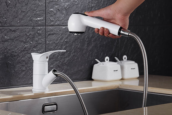 Kitchen Faucet White Water-Saving Polished Basin Mixer Brass Hot and Cold Tap Vessel Vanity Sink Mixer