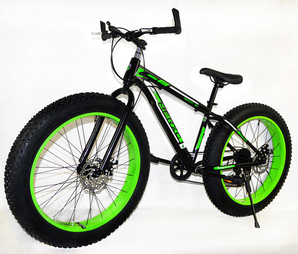 Large Tire Heavy Duty Fat Wheel Mountain Bike (Premium Green & Black Bicycle)