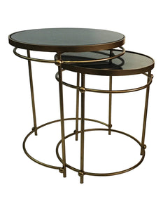 STAINLESS  COFFEE TABLE SET OF 2 WITH MARBLE TOP
