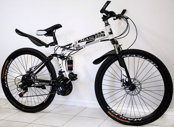 Dual Suspension Foldable 21 Speed Mountain Bike (White & Black Bicycle)-