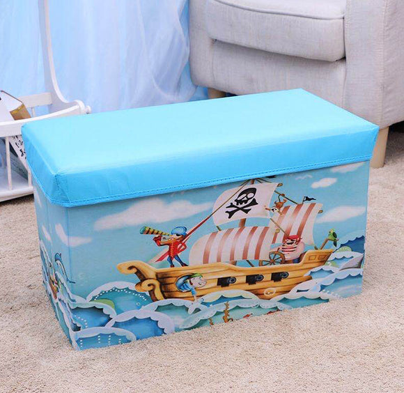Large Toy Box Foldable Storage Stool (Blue Pirate)
