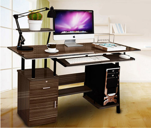 Large Malibu High Gloss Computer Desk with Drawers and Shelves (Walnut)