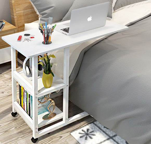 Supreme Sofa Bed Side Table Laptop Desk with Shelves & Wheels (White)