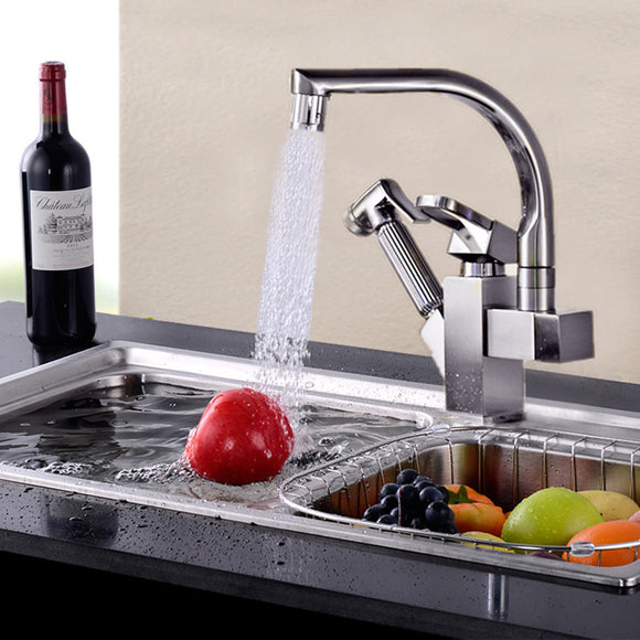 SKU:- ZAL0021 LED NICKEL HOME KITCHEN SINK FAUCET HOT COLD WATER MIXER TAP PULL OUT SPRAY
