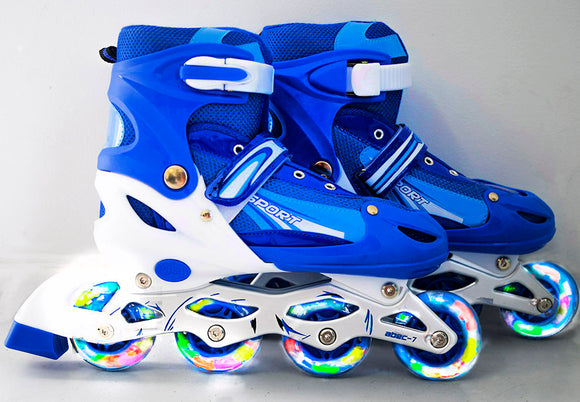 Full LED Adjustable Roller Blades Inline Skates (Blue , L)