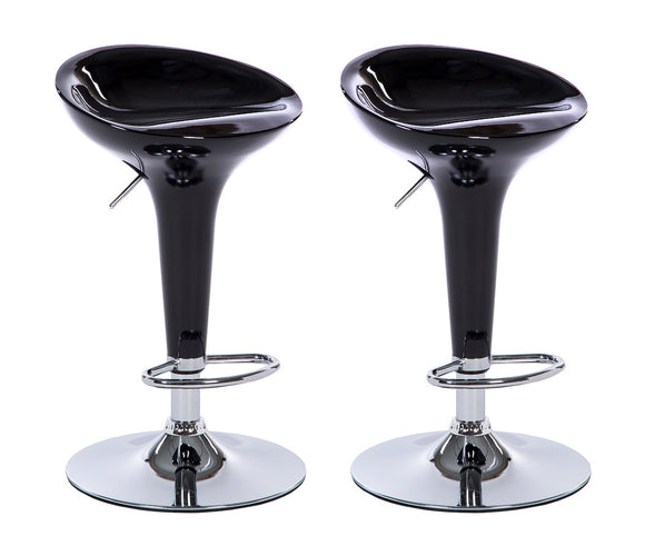 2 x Ace High Gloss Designer Bar Stools (BLACK - Set of 2)