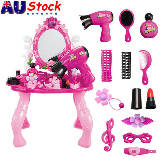 Kids Princess Dressing Table Pretend Play Set Toys Girl Makeup Pink Jewelry AU