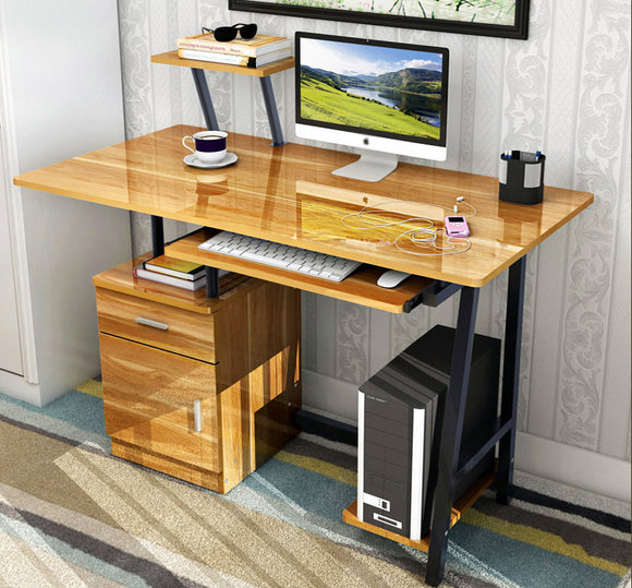 Malibu High Gloss Computer Desk with Drawers and Shelves (Oak)