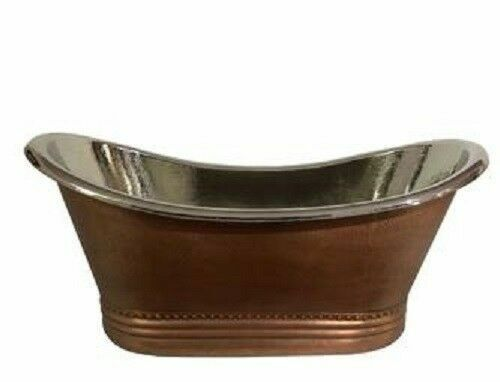 Copper Bathtub With Nickel Polished Interior Antique Handmade Hammered